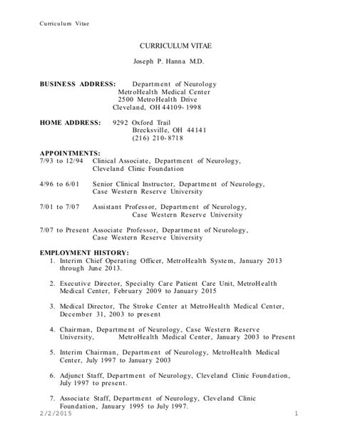 Neuro Resume Jph Cv Update January 2015