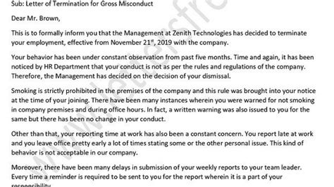 termination letter misconduct letter