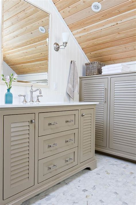 louvre bathroom gray louver washstand with marble hex floor tiles