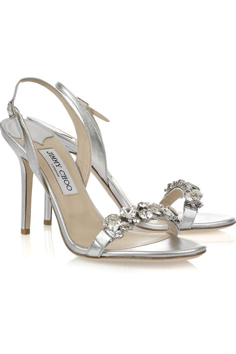 jimmy choo silver sandals jimmy choo lotus embellished leather sandals in
