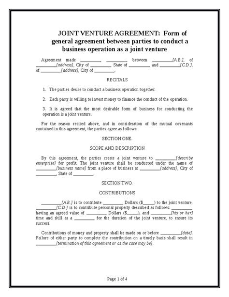 joint venture agreement template hashdoc