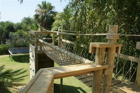 backyard rope bridge rope bridge and decks for treehouses by treehouse life