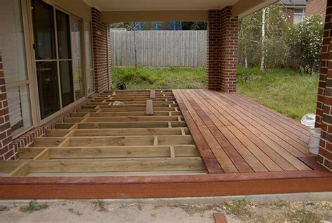building a floating deck concrete slab hardscape