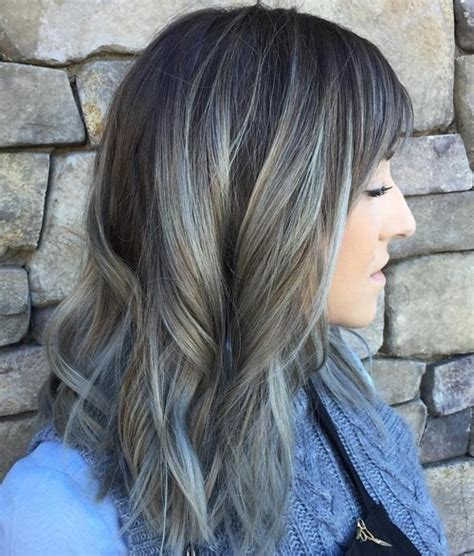 silver brown hair 20 trendy gray hairstyles gray hair trend balayage