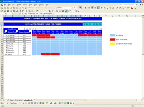 reservation spreadsheet archives excel templates