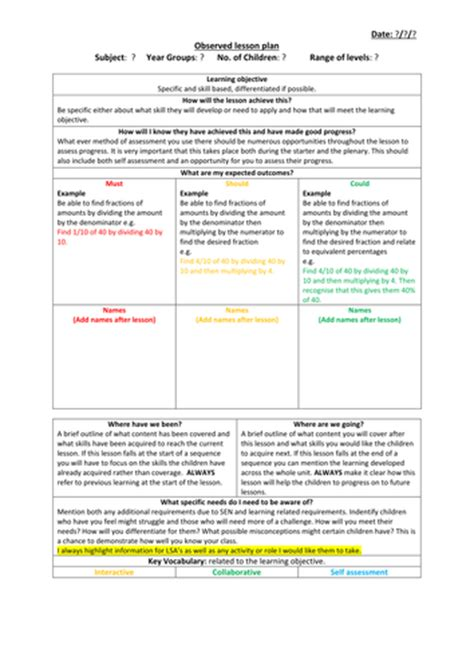 lesson plan observation template observed lesson plan template by jakemp28 teaching