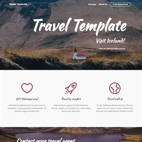 free bootstrap templates for tourism free bootstrap 4 template 2018