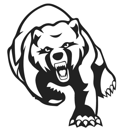 furious outline running grizzly bear tattoo design