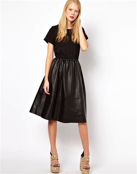Midi Dress Branded Mau Keyhole Black Midi asos midi dress with leather skirt and jersey top in black lyst