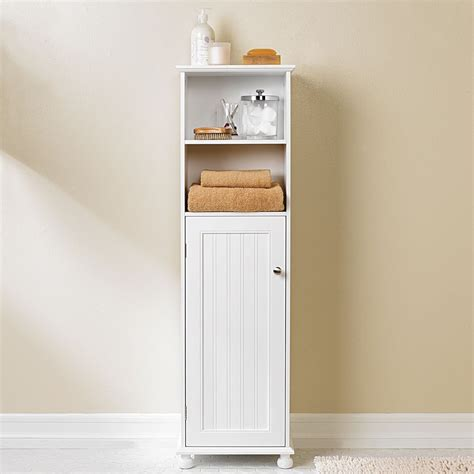 White Bathroom Storage Cabinets Diy Vintage Wood Bathroom Storage Cabinet Using Reclaimed Wood And Painted With White Color