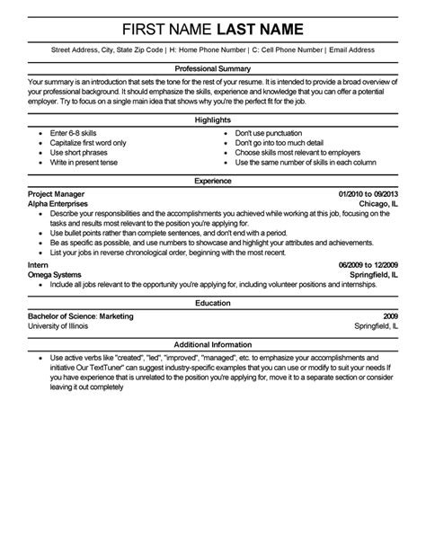 Professional Resume Template by Free Resume Templates Fast Easy Livecareer