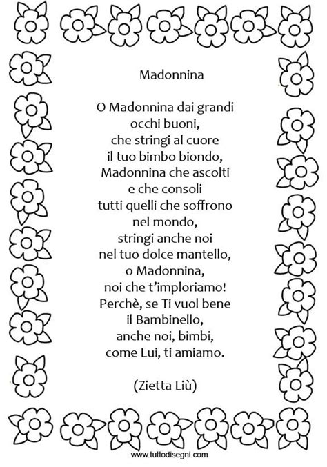 cornici per poesie poesia madonnina con cornice tuttodisegni