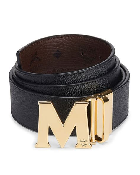 mcm claus reversible saffiano leather belt in black lyst