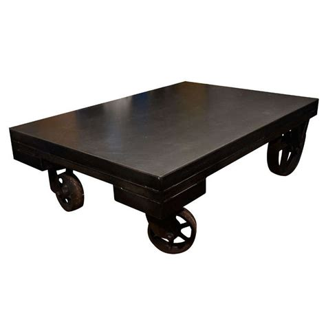 Industrial Coffee Table With Wheels American Reclaimed Industrial Cart Coffee Table On Wheels At 1stdibs
