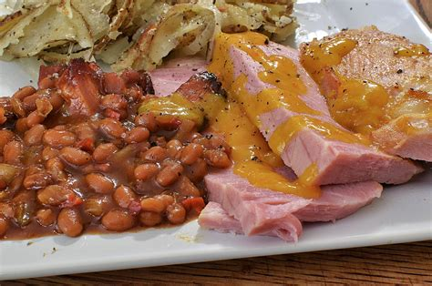 Macaroni Salad ham steaks with baked beans and home fries what s 4