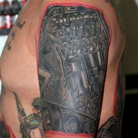 tattoo lettering engine breathtaking realism style very detailed sled engine