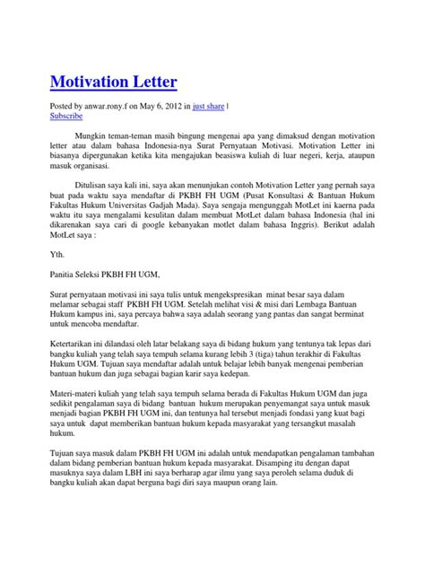Contoh Application Letter Untuk Organisasi Motivation Letter