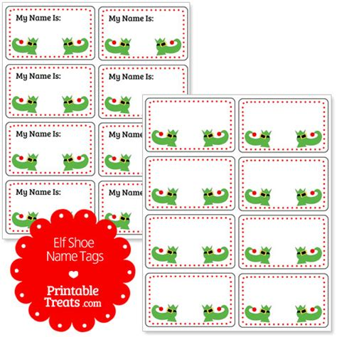 Free Printable Elf Name Tags | elf shoe name tags printable treats com