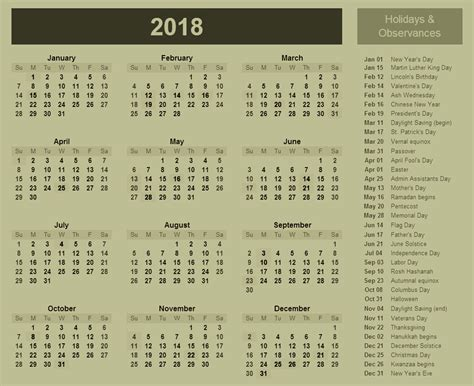 printable calendar 2018 with holidays 2018 calendar with holidays and observances 2018