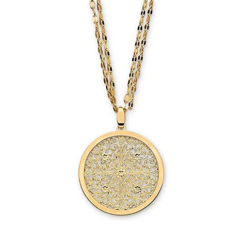 romanza gold bronze medallion pendant