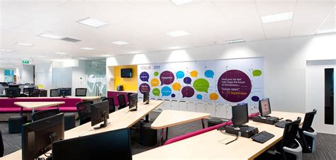 Funky Wall Murals call centre office rebrand with wall decals and prints on