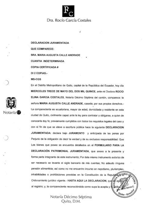 declaracion juramentada derecho ecuador declaracion juramentada 2015 maria augusta calle
