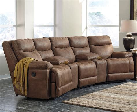 power reclining sectional w angled consoles by signature