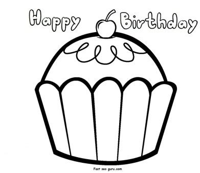 happy birthday cupcake coloring pages print out happy birthday muffin cupcake coloring pages