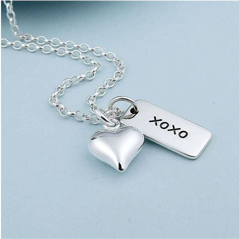 hugs and kisses sterling silver necklace by wished for