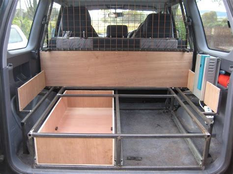 build your own drawers 4wd dog guard and rear boot storage system build land