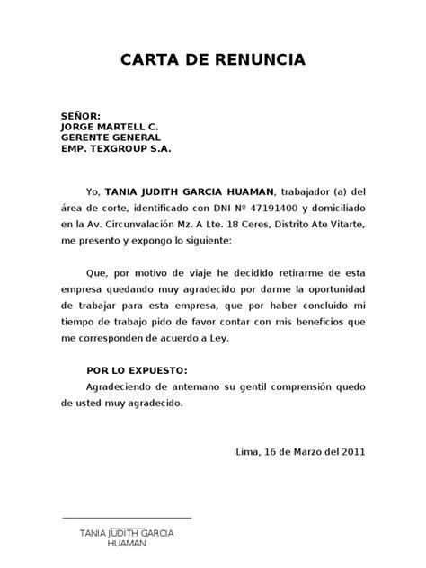 ejemplo de carta de renuncia breve ejemplos de carta carta de renuncia