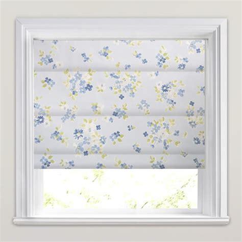 blue patterned blinds pretty white blue green posie flowers patterned roman