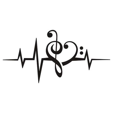 heartbeat dance tattoo music heart pulse love music bass clef treble clef
