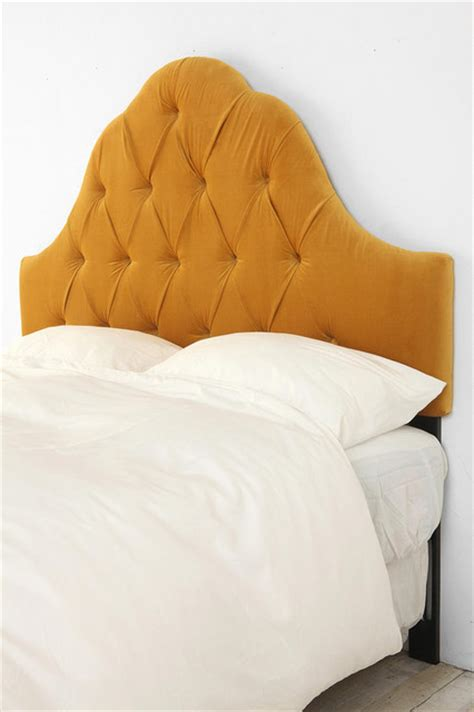 Velvet Tufted Headboard Antique Gold Traditional