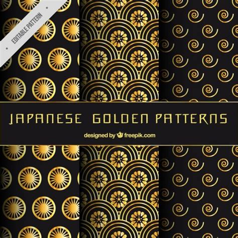 japanese pattern ai download japanese golden patterns set vector free download