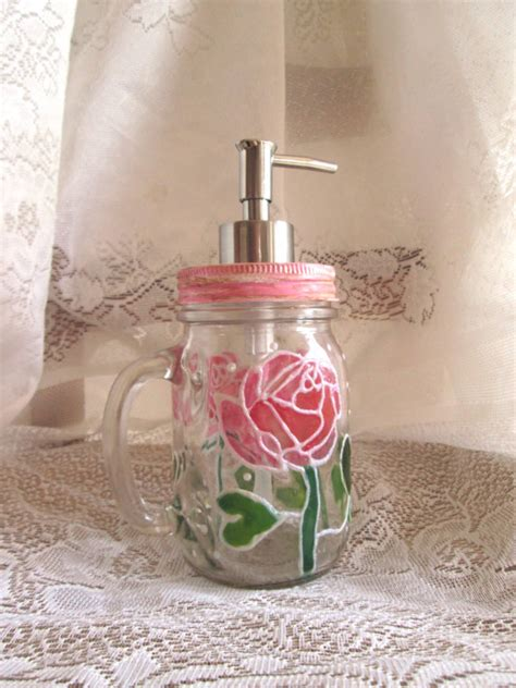 shabby chic soap dispenser roses jar soap dispenser painted shabby chic