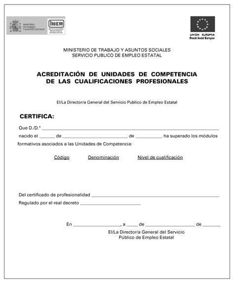 Modelo Curriculum Sepe Ejemplo De Acreditaci 243 N De Competencias Profesionales Nivel 1