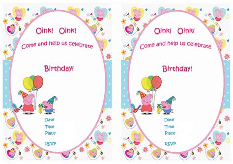 peppa pig invitations template peppa pig birthday invitations birthday printable