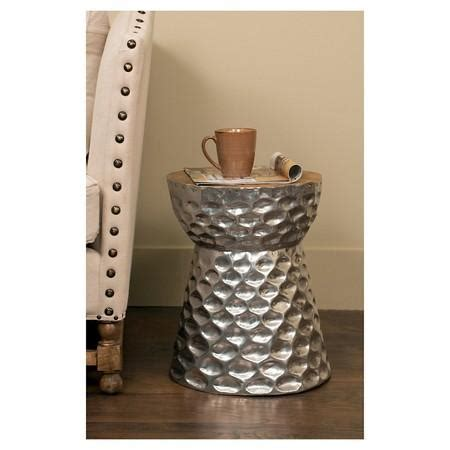 target drum side table hammered drum stool roost decor silver
