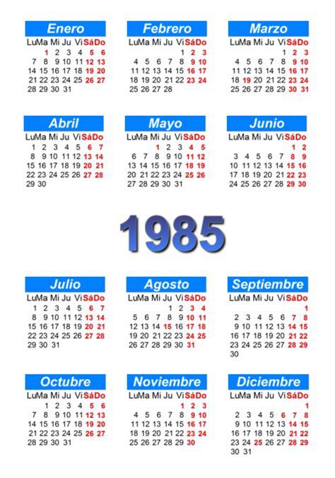 Calendario De 1985 Calendario 1985 Para Imprimir Y Descargar Pdf Abc
