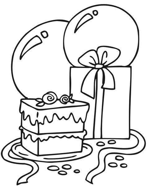 Birthday cake color page many interesting cliparts