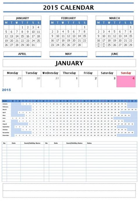 2015 year and monthly calendar templates free microsoft