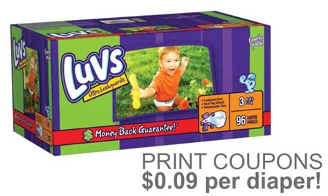 printable luvs diaper coupons printable luvs boxed diapers coupons 0 09 per diaper