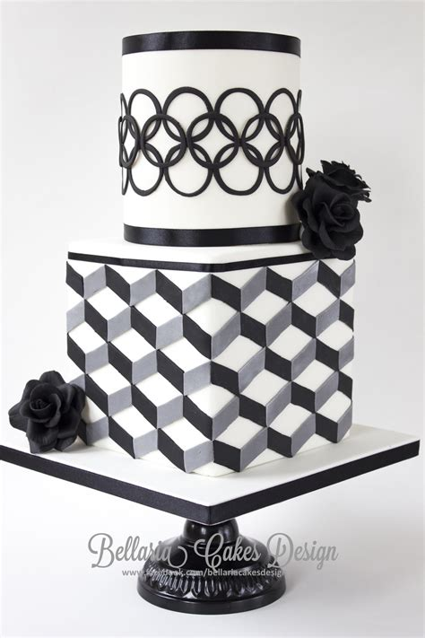 black pattern cake modern black and white bridalshower cake with geometric