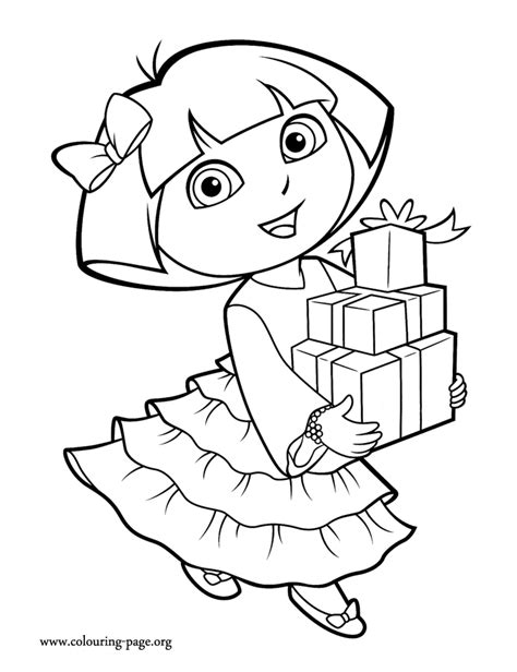 dora and buji coloring page in this beautiful picture dora is ready for her christmas