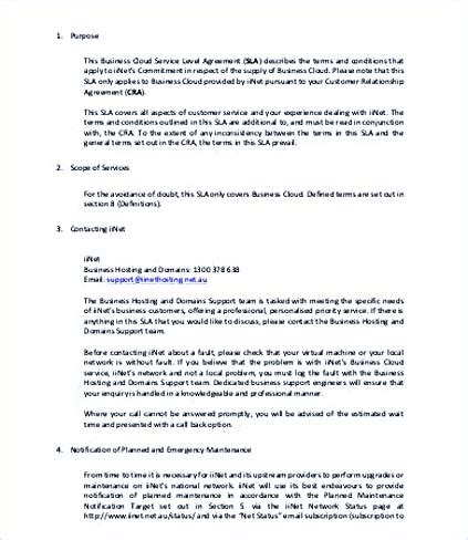 service agreement template uk service level agreement template and points to understand