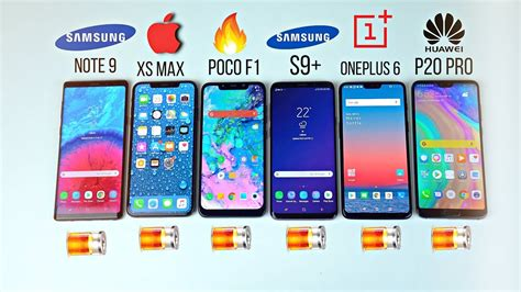 iphone xs max vs note 9 s9 pocophone f1 p20 pro oneplus 6 battery drain test