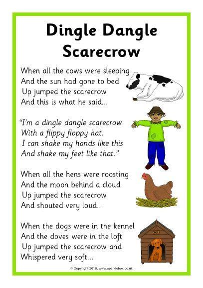 printable lyrics for nursery rhymes dingle dangle scarecrow song sheet sb11541 sparklebox