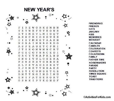 new year activities in markham new year s word search printable for word