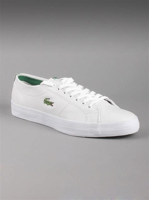 lacoste mens marcel chunky cre leather shoes in white